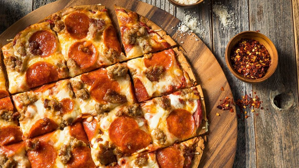 Thin crust St. Louis style pizza.